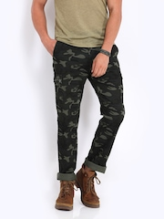 The Indian Garage Co Men Green Camouflage Print Slim Fit Cargo Trousers
