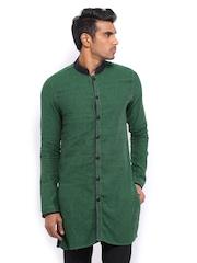 The Indian Garage Co Men Green Cotton Linen Kurta