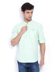 The Indian Garage Co Men Light Green Cotton Linen Short Kurta