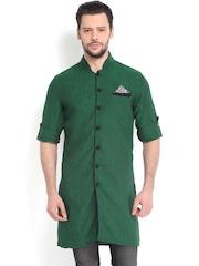 The Indian Garage Co Men Green Linen Kurta