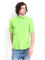The Indian Garage Co Men Green Printed Slim Fit Casual Shirt