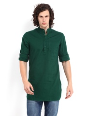 The Indian Garage Co Men Green Linen Blend Kurta