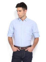 The Indian Garage Co Men Light Blue Linen Blend Casual Shirt