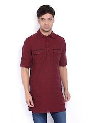 The Indian Garage Co Men Maroon Cotton Linen Kurta
