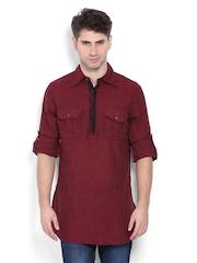 The Indian Garage Co Men Maroon Linen Short Kurta