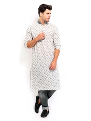 The Indian Garage Co Men Off-White & Grey Kurta