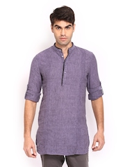 The Indian Garage Co Men Purple Cotton Linen Kurta