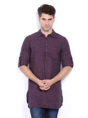 The Indian Garage Co Men Purple Linen Short Kurta