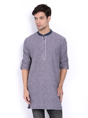 The Indian Garage Co Men Purple Linen Short Kurta