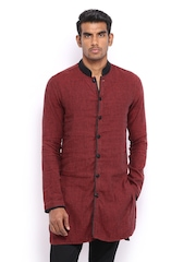 The Indian Garage Co Men Rust Brown Cotton Linen Kurta