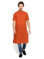 The Indian Garage Co Men Rust Orange Kurta