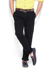 Men Jet Black Slim Fit Chinos The Indian Garage Co