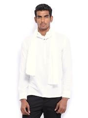 The Indian Garage Co Men White Cotton Linen Kurta