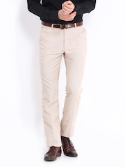 The Privilege Club Men Beige Slim Fit Formal Trousers