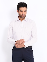 The Privilege Club Men White & Peach Coloured Striped Slim Fit Casual Shirt