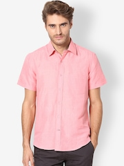 The Vanca Men Pink Smart-Casual Shirt