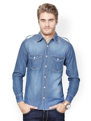 The Vanca Men Blue Denim Casual Shirt