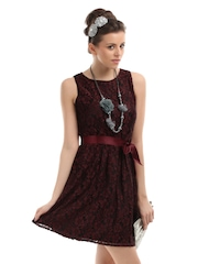 The Vanca Women Black and Maroon Lace Dress
