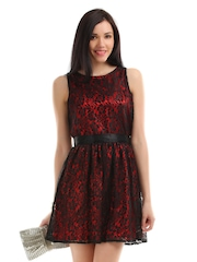 The Vanca Women Black and Red Lace Dress