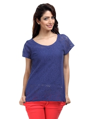 The Vanca Women Blue Crochet Lace Top