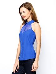 The Vanca Women Blue Slim Fit Shirt