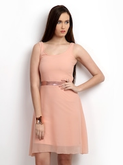 The Vanca Peach Coloured A-Line Dress