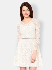 The Vanca Off-White Lace Fit & Flare Dress
