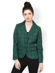 The Vanca Women Green Checked Jacket