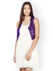 The Vanca Women Purple Sequinned Waistcoat