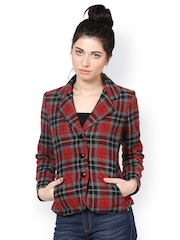 The Vanca Women Red Checked Slim Fit Jacket