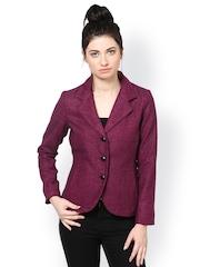 The Vanca Women Fuchsia Pink Striped Slim Fit Jacket