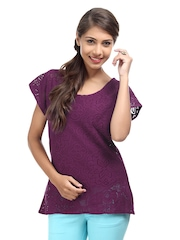 The Vanca Women Purple Crochet Lace Top