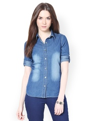 The Vanca Women Blue Denim Shirt