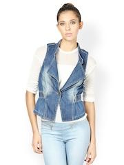The Vanca Women Blue Denim Waistcoat