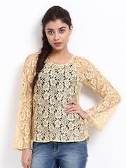 The Vanca Women Yellow Lace Top