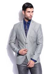 Theme Men Grey Linen Blend Blazer