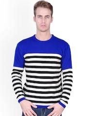Tiktauli De.Corps. Men Blue & White Striped Sweater