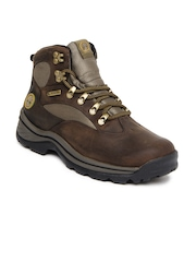 Timberland Men Brown & Olive Green Chocorua Trail Mid GTX Leather Boots