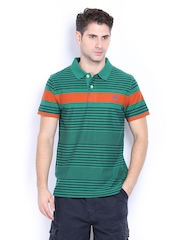 Timberland Men Green & Blue Striped Polo T-shirt