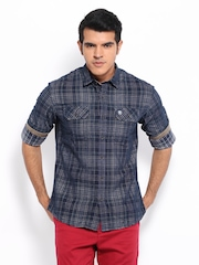 Timberland Men Navy Checked Slim Fit Plaid Casual Shirt