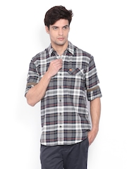 Timberland Men Navy & Off-White Checked Casual Shirt