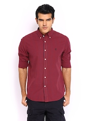 Timberland Men Red & Navy Slim Fit Casual Shirt