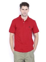 Timberland Men Red Pique Polo T-shirt
