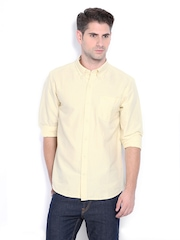 Timberland Men Yellow & White Striped Slim Fit Smart-Casual Shirt