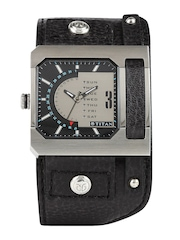 Titan Men Black & Gunmetal-Toned Dial Watch NE1607SL02