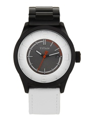 Titan Men Grey & White Dial Watch NB9412NH01