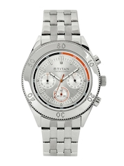 Titan Men Silver Toned Dial Watch