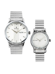 Titan Bandhan Set of 2 His & Her Off-White Dial Watches NE15802490SM03