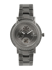 Titan Women Gunmetal Toned Dial Watch