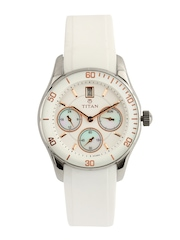 Titan Women White Dial Watch 9958SP02J